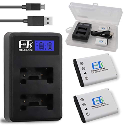 E-TS 1200mah 2-Pack Replacement Battery and Dual Charger for NP-45 Battery NP-45A NP-45B NP-45S and Fujifilm FinePix XP20 XP22 XP30 XP50 XP60 XP70 XP80 XP90 T350 T360 T400