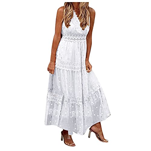 Women s Fashion Deep V Neck Sleeveless Lace Stitching Vest High Waist Wedding Bridal Long Dress Banquet Evening Dress