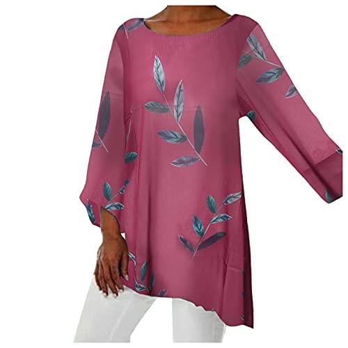 LalalukaOberteileDamenLangshirt Langarm Vintage Blatt Druck Rundhals Sommer Bluse T-ShirtFrauenTShirtOberteilTunikaTopTshirtHemdLongshirtKurzarmshirtSweatshirtTee