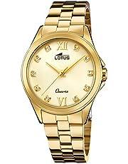 LOTUS Reloj Modelo 18740/3 de la colección Trendy, Caja de 33,5 mm champan con Correa de armys Chapado para señora