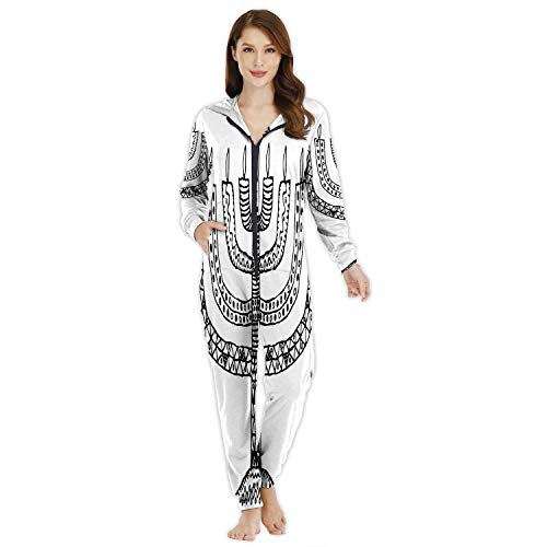 Hanukkah.Holiday.Candle.Doodle,Girls Warm Onesie Footed Pajamas Hand Draw Candle L