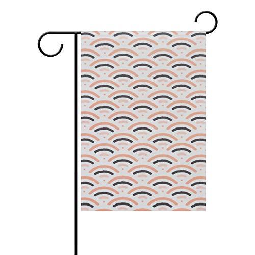 Lindatop Drapeau de jardin en papier Motif écailles de poisson 30,5 x 45,7 cm Double face Décoration en polyester Outddor Drapeau à la maison, Polyester, Multi-1., 12x18(in)