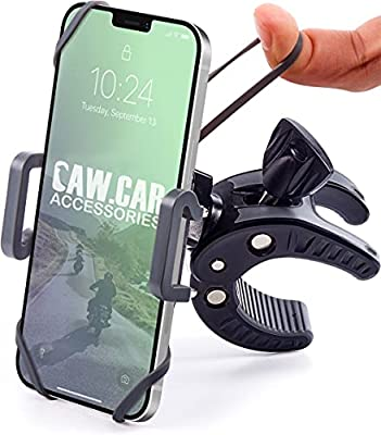 Bike & Motorcycle Phone Mount - for iPhone 11 (Xr, Xs Max, 8 Plus), Galaxy S20 or Any Cell Phone - Universal ATV, Mountain & Road Bicycle Handlebar Holder. +100 to Safeness & Comfort