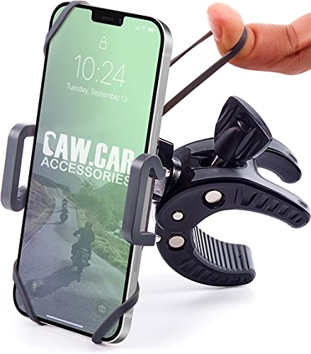 Bike & Motorcycle Phone Mount - for iPhone 12 (11, Xr, SE, Max/Plus), Galaxy S20 or Any Cell Phone - Universal ATV, Mountain & Road Bicycle Handlebar Holder. +100 to Safeness & Comfort
