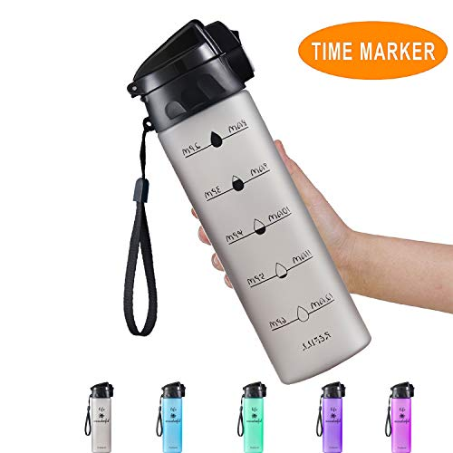 Pretfarver 24oz Water Bottle with Times Marker, Large Wide Mouth BPA Free Water Bottle for Kids Fitness Camping, Leak Proof Locking Flip Top Lid Motivational Water Bottle Gifts for Best Friend