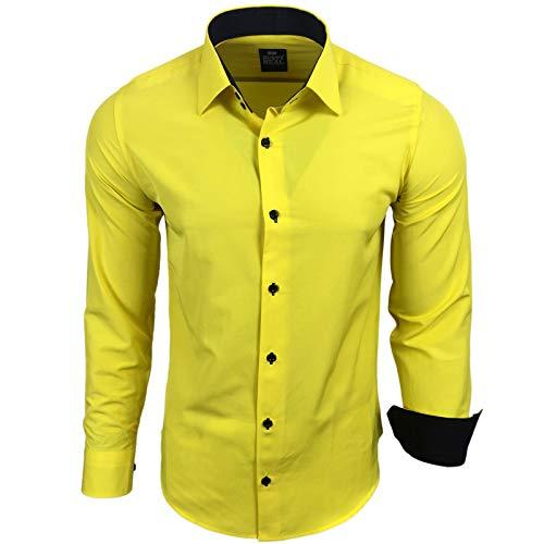 Rusty Neal Herren Hemd Stretch Business Kontrast Hemden Bügelleicht Slim 31 Farben S - 4XL, Farbe:Gelb, Größe:S