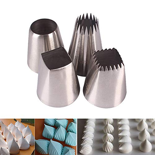 Juego de 4 boquillas de acero inoxidable para decoración de tartas, para decoración de tartas, para decoración de pasteles, herramientas Large