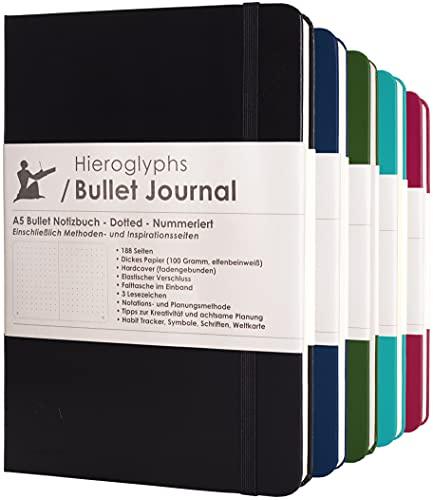 Bullet Journal/Dotted Notizbuch A5 - mit Methode - nummerierte Seiten, Falttasche, 3 Lesezeichen, Verschlussgummi - von Hieroglyphs (Schwarz)