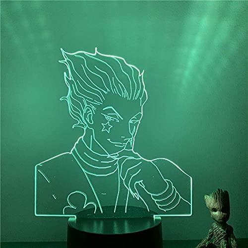 Jellyllyy 3D LED luz de noche dog times personaje de anime 7 colores táctil ilusión óptica luz decoración de dormitorio para niños