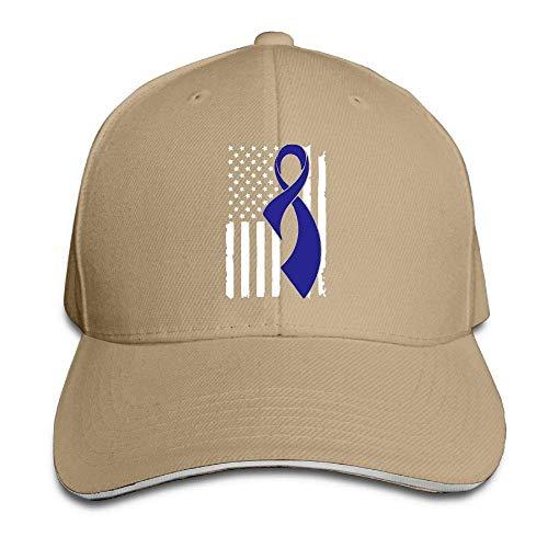 Presock Gorra De Béisbol,Gorro/Gorra Unisex Colon Cancer Awareness Flag-1 Adult Adjustable Snapback Hats Sandwich Cap