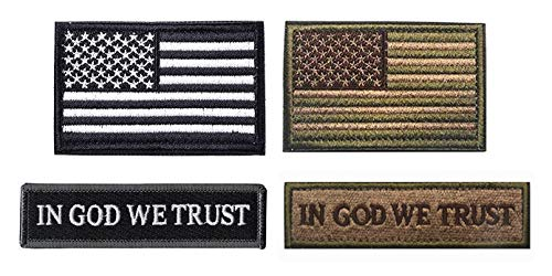 Antrix 4 Pack Morale Tactical Patch of USA American Flag & in God We Trust Military Hook and Loop Patches Set for Backpack Vests Hat Caps Pouch Uniform Dog Harness/Vest Outdoor