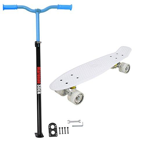 MARONAD Retro Skateboard Weiß LED Leuchtrollen + Maronad Stick Blau