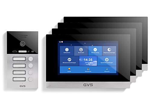 GVS Videoportero IP IP65 con RFID, monitor de 4 x 10 pulgadas, aplicación, cámara HD de 120°, apertura de puertas, memoria de 32 GB, interruptor PoE, juego de 4 casas, AVS4074U