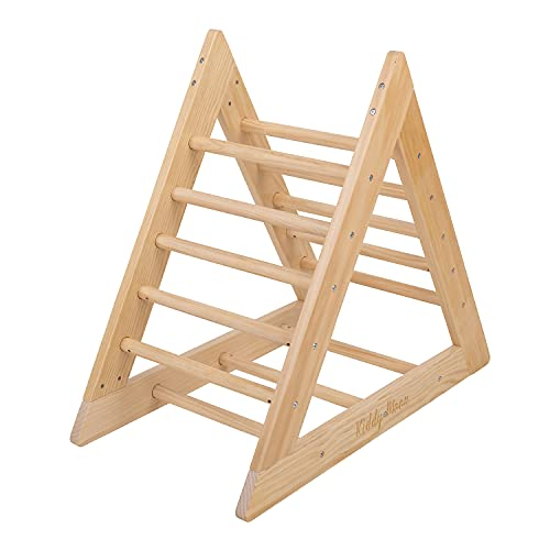 KiddyMoon Triangolo da Arrampicata in Legno Pikler per Bambini Montessori, Naturale