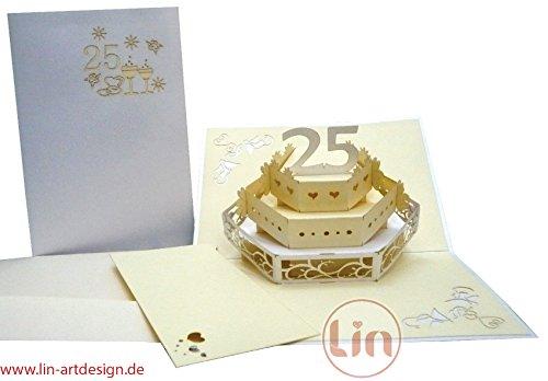 Lin-Pop Up Kaarten bruiloftskaarten, bruiloftsuitnodigingen, 3D-kaarten verjaardag 25uwelijk jubileum, zilveren bruiloft, 25 Bruidstaart