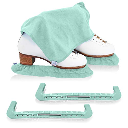 CRS Cross Skate Guards, Soakers & Towel Gift Set - Ice Skating Guards and Soft Skate Blade Covers for Figure Skating or Hockey (Sit Spin Sea Foam, Large)