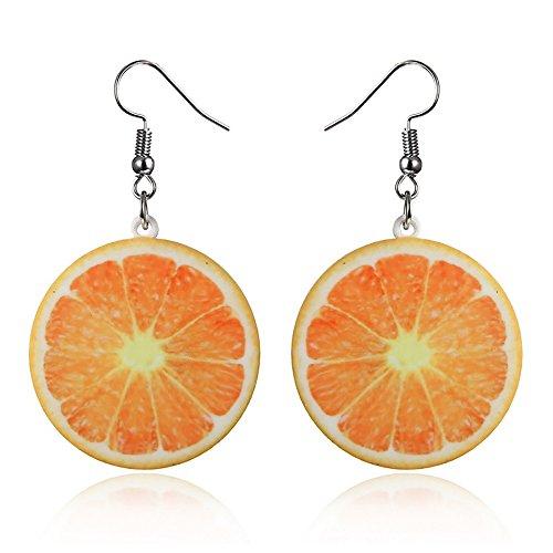 VEINTI+1 Trendy Statement Creative Funny Lifelike Fruits Acrylic Earrings for Women/Girl's (Orange)
