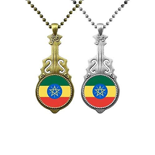 Halskette mit Anhänger Äthiopien, Nationalflagge, Afrika, Musik, Gitarre, Schmuck