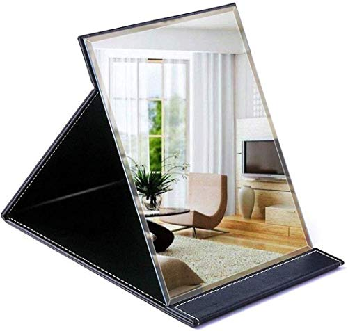 123564 Makeup Mirror With Light Travel, HD Free Standing Table Vanity Mirror On Stand Portable Foldable For Girls