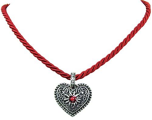Kordel Halskette Mina mit Herz und Strass - Dunkelrot