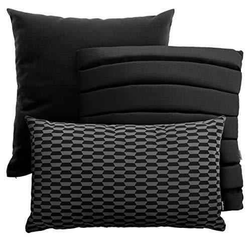 Juego de 3 cojines con relleno y funda (45 x 45 cm, 40 x 40 cm, 50 x 30 cm), color negro
