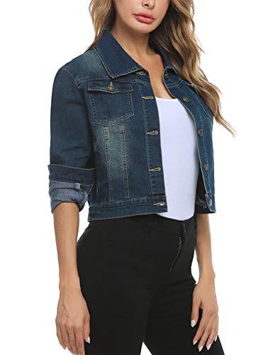 Akalnny Damen Jeansjacke Damenjacke Jeans Jacke Kurze Nieten Langarm Stretch Vintage Wash Denimjacke Revers Outwear(Darkblau,L