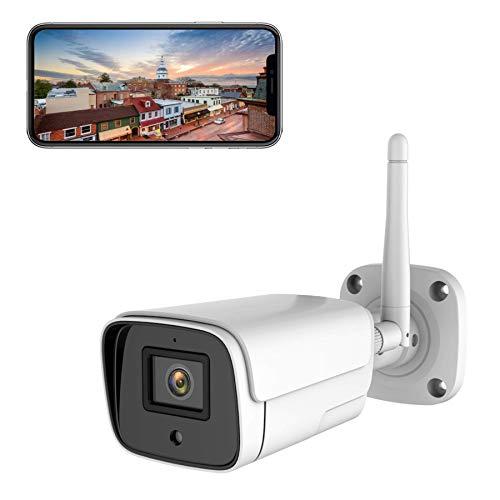 Cámara de vigilancia exterior, WiFi, IP, para exteriores, 1080P, resistente al agua, visión nocturna, con detección de movimiento, alarma de sirena, dos vías de audio, compatible con Alexa