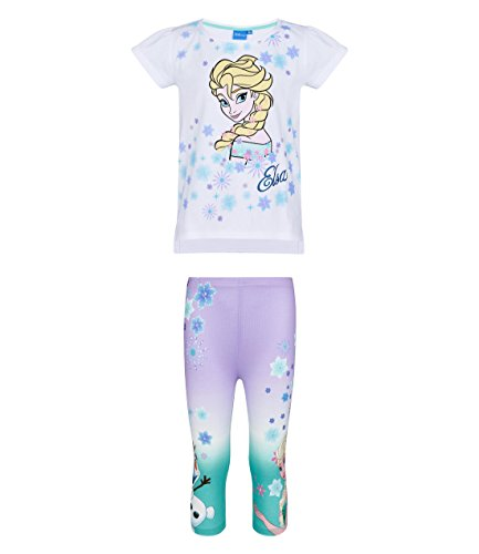 Disney Die Eiskönigin ELSA & Anna Mädchen T-Shirt mit Leggings - Weiß - 116