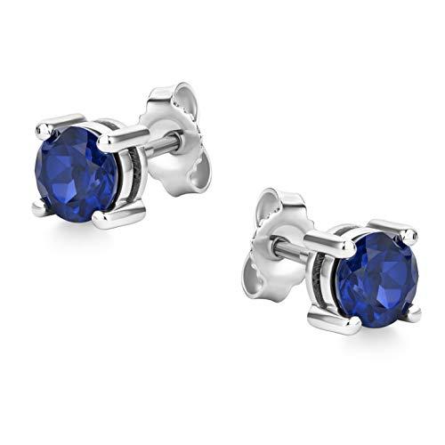 Orovi Joyería Pendientes de oro blanco para mujer, con piedra de nacimiento, zafiro azul, anillos de oro de 14 quilates (585)
