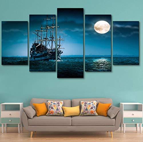 Cuadro de Lienzo Velero En El Mar En La Noche de Luna Llena Impresiones Sobre Lienzo 5 Panel,decoración Para El Hogar de Pared Para Regalo,Framed Wall Art 40X60Cmx2Pcs 40X80Cmx2Pcs 40X100Cmx1Pcs