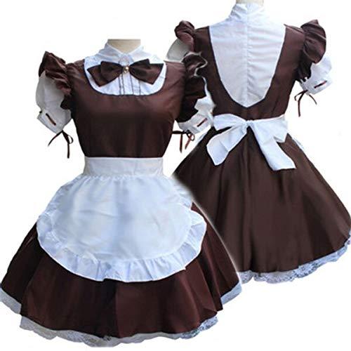 Anime Cosplay Kostüm für Erwachsene Retro French Bow Maid Frauen Kleid Kurzarm Nähen Farbe Kleid Plus Size S-4XL B63283AD S braun