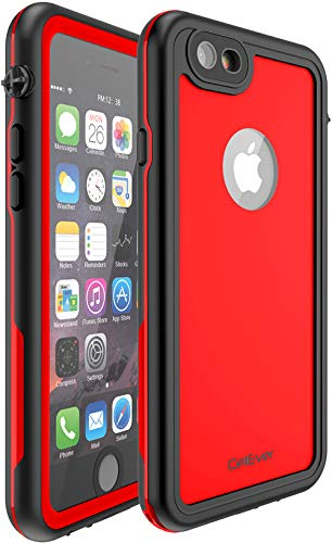 CellEver Compatible with iPhone 6 / 6s Waterproof Case Shockproof IP68 Certified SandProof Snowproof Full Body Protective Cover Designed for iPhone 6 / iPhone 6s (4.7 Inch) - KZ C-Red