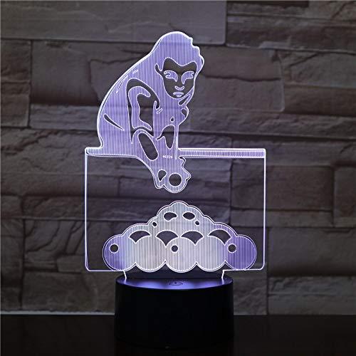 AOXULIU Luz de noche El Sensor Táctil De La Lámpara 3D De Billar Deportivo Presente Para La Lámpara De Luz Nocturna Led Infantil Para Decoración De Cumpleaños Láser Base Blanca