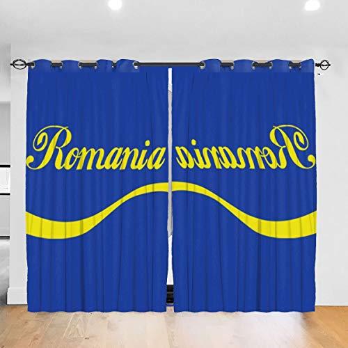 HONGYANW Cortinas para Ventana Hongyang Personalizadas Opacas Euro 2016 Fútbol Rumanía Onda Azul con Ojales aislantes térmicos para recámara Salón 52 x 72 Pulgadas, 2 Paneles