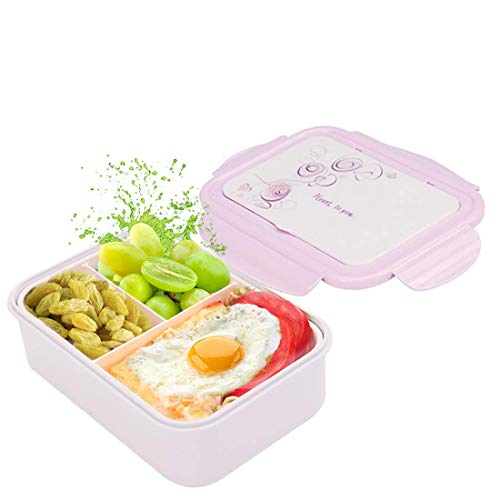 Fambrera Infantil, Lunch Box, Fiambrera con 3 Compartimientos, Cuchara Tenedor Lonchera, Bento Box Sostenible, para Microondas y Lavavajillas. (Púrpura)