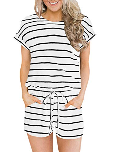 ANRABESS Women's Summer Solid Jumpsuit Casual Loose Short Sleeve Jumpsuit Rompers with Pockets Elastic Waist Playsuit White&Black-L BYF-33