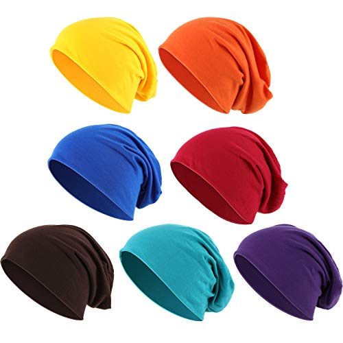 Outus Thin Knit Slouchy Cap Beanies Hat Hip-Hop Sleep Cap Dwarf Hat (Assorted Colors, 7 Pieces)