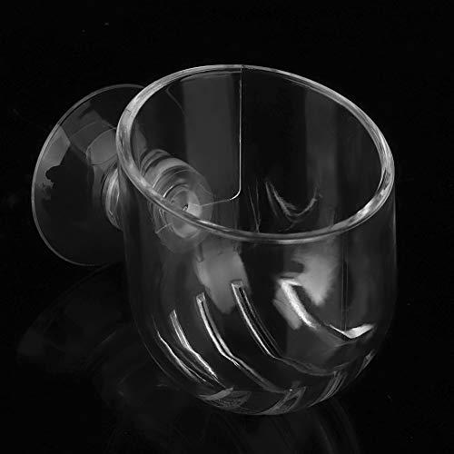 Aquarium-Futterspender mit rotem Wurm, transparenter Saugnapf, Futterbehälter für Garnelen, Fisch (Acryl-Riss-Becher)