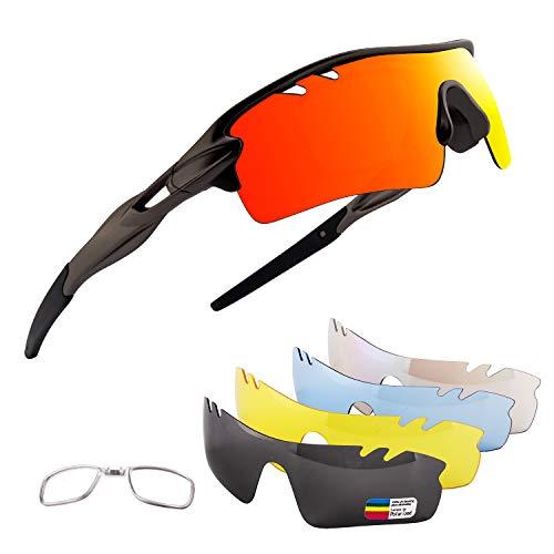 OULIQI Gafas De Sol Polarizadas para Ciclismo con 5 Lentes Intercambiables UV400 Y Montura De, Gafas para MTB Bicicleta Montaña 100% De Protección UV (Gun Ash)