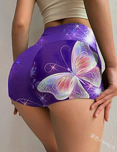 ArcherWlh Yoga Pantalones,Sexy Alta Cintura impresión Yoga Pantalones Cortos Hembra Correr Ejercicio Deportes Pantalones Medias-púrpura_4XL