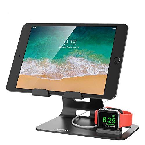 Aerb Watch Stand 2 in 1, iWatch Halterung 2 in 1 Ständer für Tablet, iPad, iPhone X 8Plus / 8 / 7Plus / 7 / 6Plus / 6S und iWatch 38mm / 42mm, Aluminium, schwarz