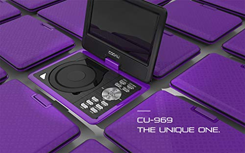COOAU Portable DVD Player 11.5 'with game joystick, swiveling HD screen, support for multi-format, region free, long-life battery, support for AV-In / AV-Out / SD / USB, purple
