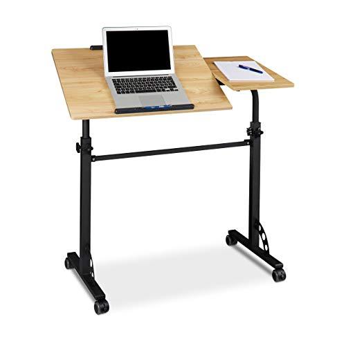 Relaxdays 10020807 Table ordinateur portable hauteur réglable roues table bout de canapé lit bois- jaune - HxlxP : 110 x 100 x 50 cm