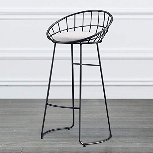 Sedia da Pranzo, Sgabello da Bar in Tessuto in Metallo con Poggiapiedi con Poggiapiedi - Dxx(Size:65cm,Color:Style-Black)