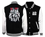 CSTK The Walking Dead Varsity Jacket | Free The Walking Dead Toy Keychain (XL) Black and White