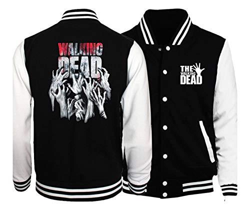 CSTK The Walking Dead Varsity Jacket | Free The Walking Dead Toy Keychain (Medium) Black and White