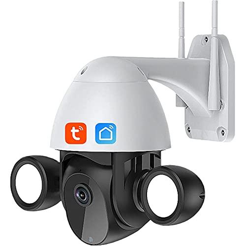 Jings Cámara de Seguridad con Reflector para Exteriores, cámara de Audio WiFi de 2 vías PTZ de 3 MP, cámara de CCTV WiFi de visión Nocturna con detección Humana, cámara IP