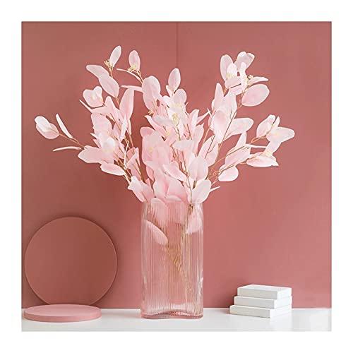 Flores Artificiales 34.25 pulgadas artificiales flor de eucalipto, plantas azules azules con jarrón de vidrio, maceta de plantas para interiores para la decoración del hogar y la oficina Flores Artifi