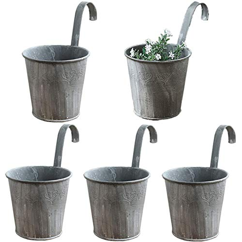 Boyigog 5 Pcs Blumentopf Hängend Metall, Iron Flower Pot Vase Hanging Balcony Garden Planter Home Decor for Garden Patio Wall Indoor Outdoor Hanging Pots