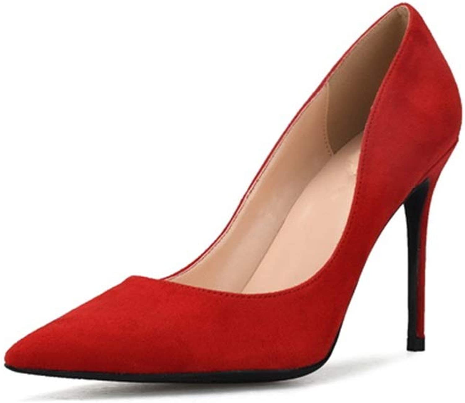 ZerenQ Lady High Stiletto Heels D'Orsay Pumps for Women Faux Suede Leather Pointed Toe Lined Dress shoes Durable (color   Red 6cm Heel, Size   11 M US)